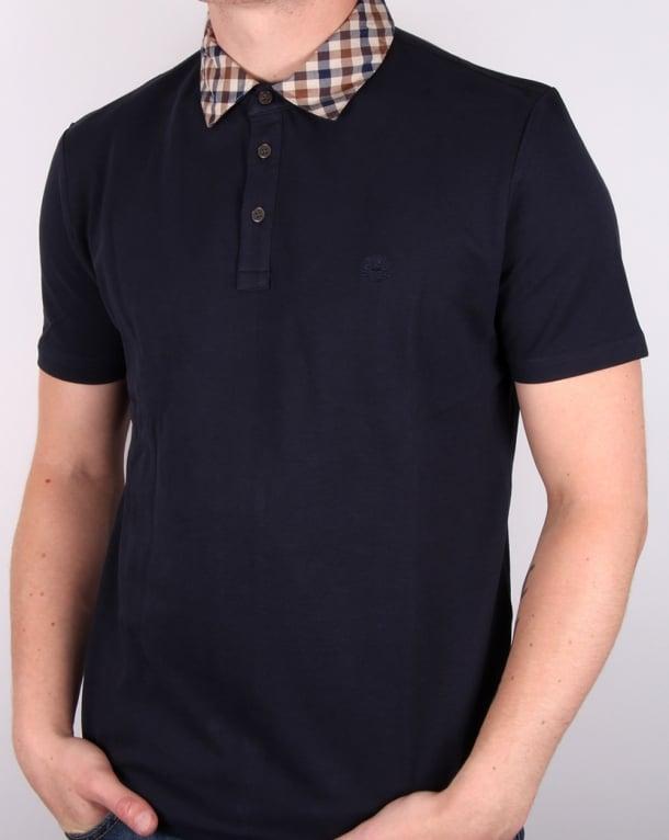Aquascutum Nathan Check Collar Ss Polo Shirt Navy