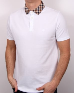 Aquascutum Nathan Check Collar Ss Polo Shirt White