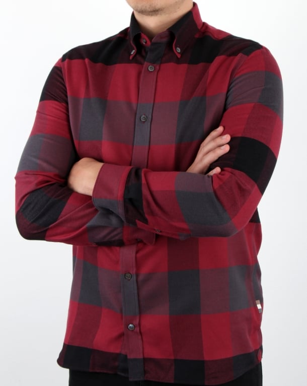 Aquascutum Rigby Flannel Check Shirt Red