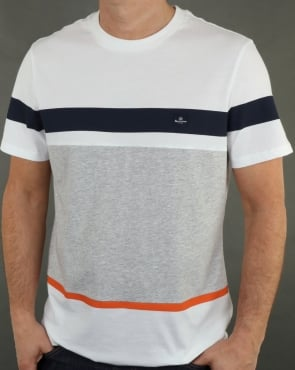 Aquascutum Roeburn Block Colour Stripe T Shirt White