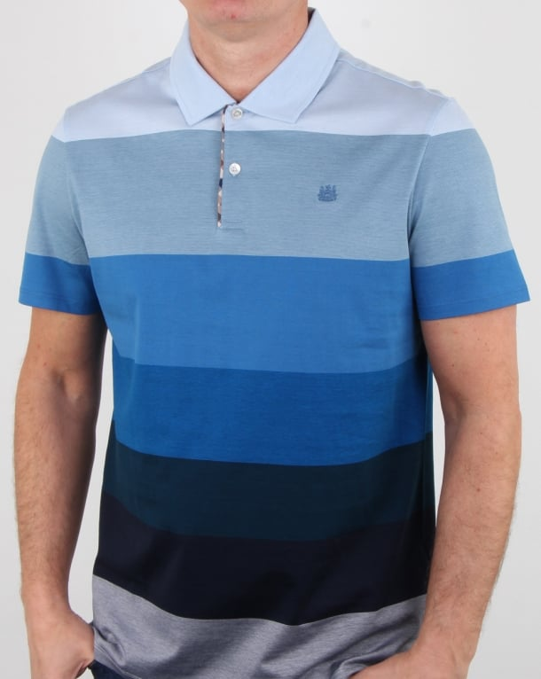 Aquascutum Romney Gradient Stripe Polo Shirt Blue