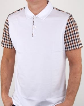 Aquascutum Rutland Vicuna Detail Polo Shirt White