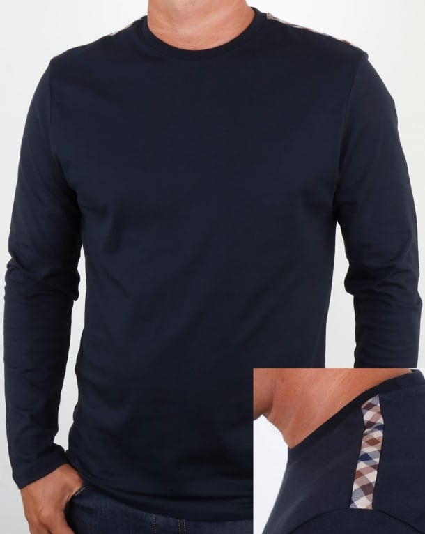 Aquascutum Southport Long Sleeve T Shirt Navy