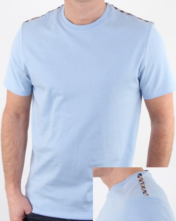 Aquascutum Southport T Shirt Sky Blue