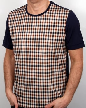 Aquascutum Thornton Club Check T Shirt Vicuna