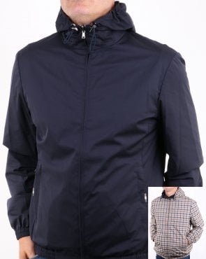 Aquascutum Tyne Hooded Reversible Jacket Navy