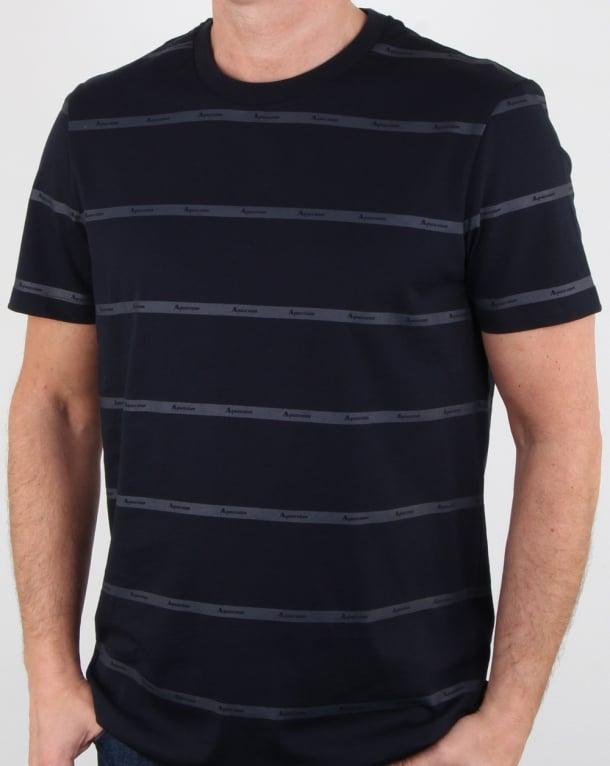 Aquascutum Whillan Aqua Stripe T Shirt Navy