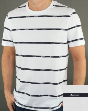 Aquascutum Whillan Aqua Stripe T Shirt White