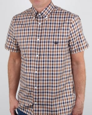 Aquascutum York Short Sleeve Club Check Shirt Vicuna