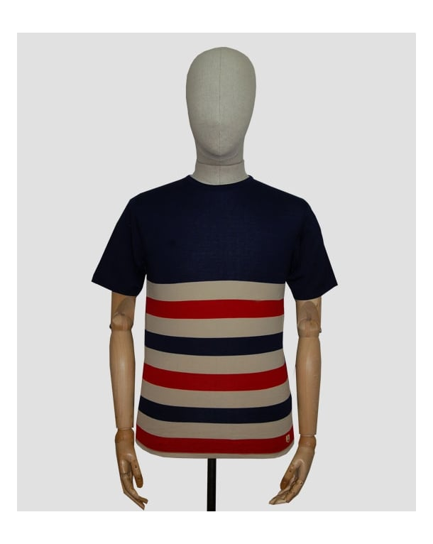 Armor Lux Armor-lux Gilles Striped T-shirt Navy/cream/red