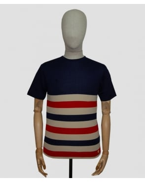 Armor-lux Gilles Striped T-shirt Navy/cream/red