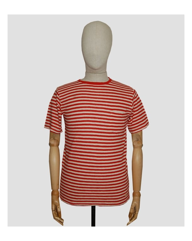 Armor Lux Armor-lux Stripe Pocket T-shirt Red/off White