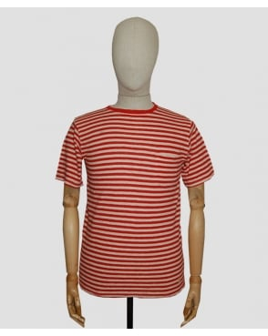Armor-lux Stripe Pocket T-shirt Red/off White