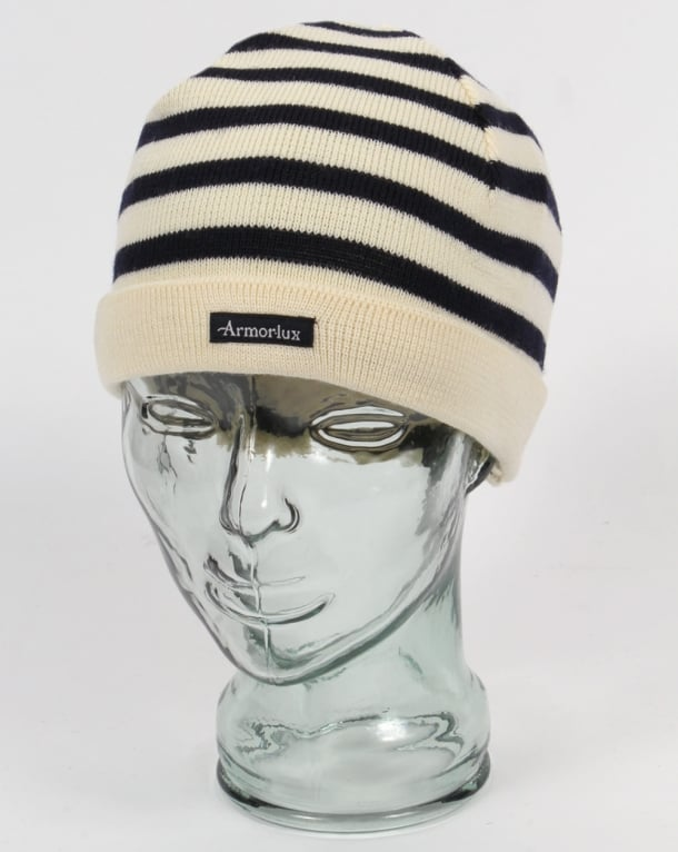 Armor-lux Striped Beanie Hat Nature/Navy