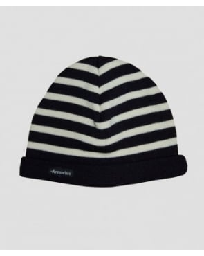 Armor-lux Striped Beanie Hat Navy/ecru