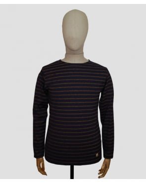 Armor-lux Striped Long Sleeve T-shirt Navy/tan