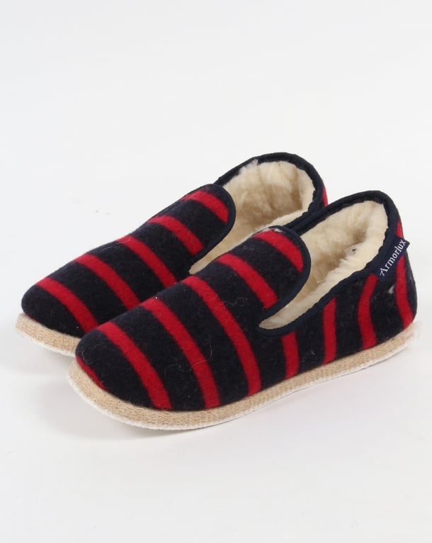 Armor-lux Wool Slippers Navy/red