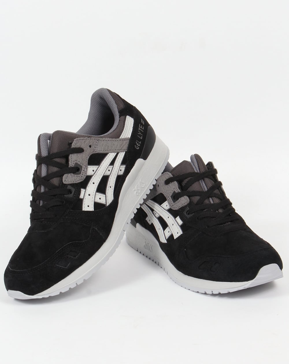 Black Gel Nails With One Silver Glitter Nail: Asics Gel Lyte III Trainers Black/Grey,3,shoes,runners