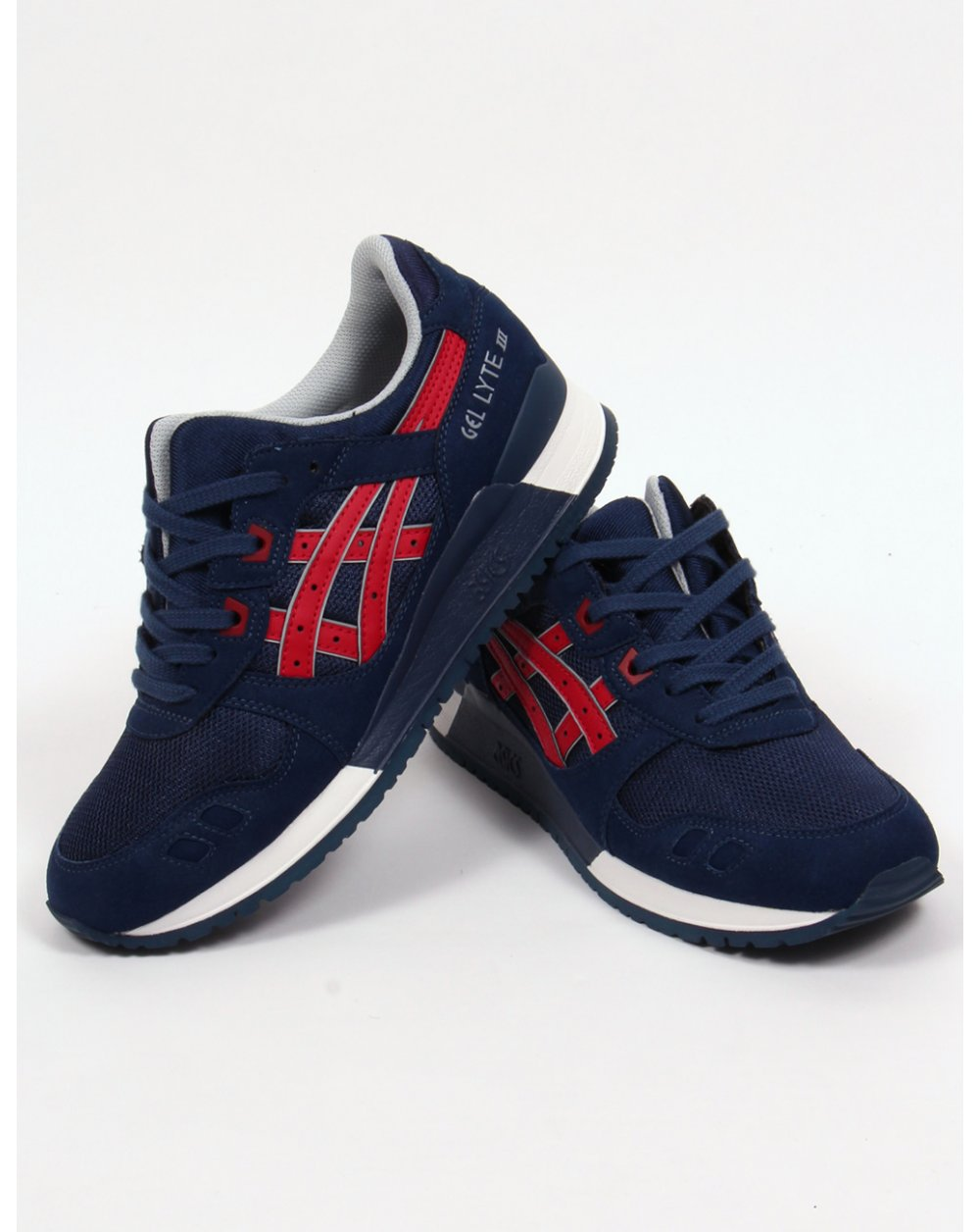 Asics Gel Lyte III Trainers Navy/Red,3,shoes,runners,sneakers