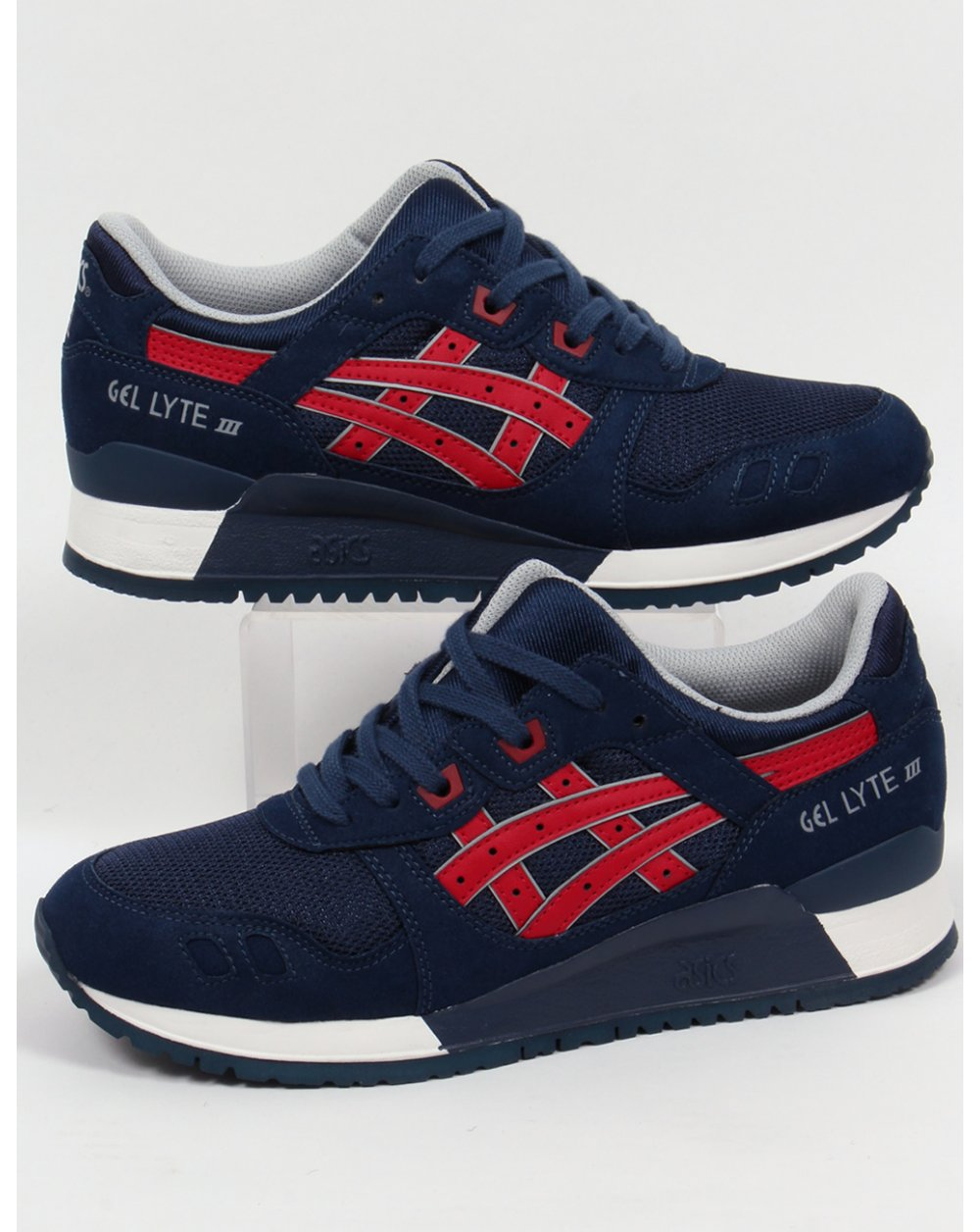 asics gel lyte iii trainers navy red 3 shoes runners sneakers. Black Bedroom Furniture Sets. Home Design Ideas