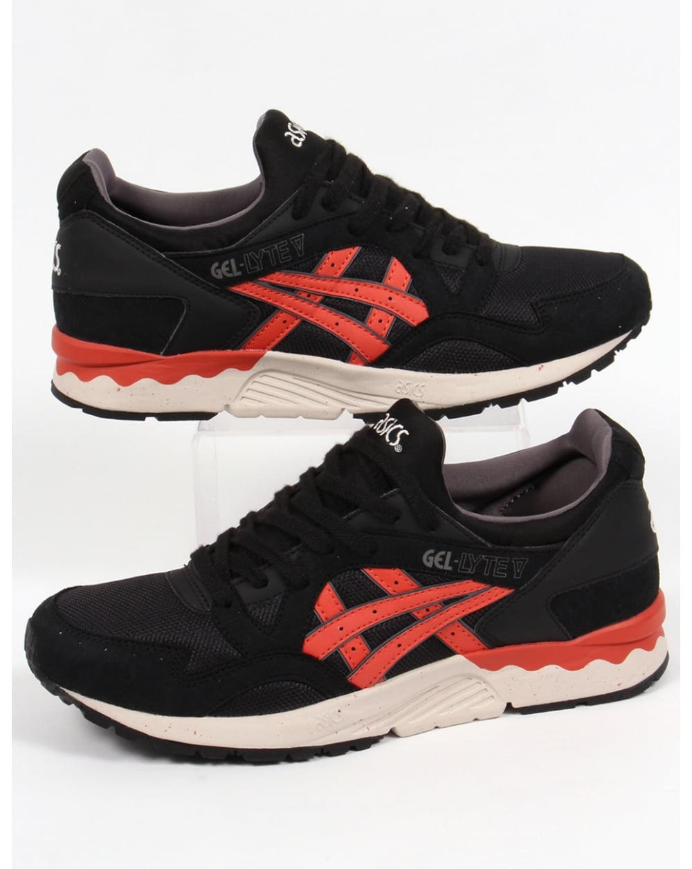 asics gel lyte v trainers black chili red 5 shoes runners sneakers. Black Bedroom Furniture Sets. Home Design Ideas