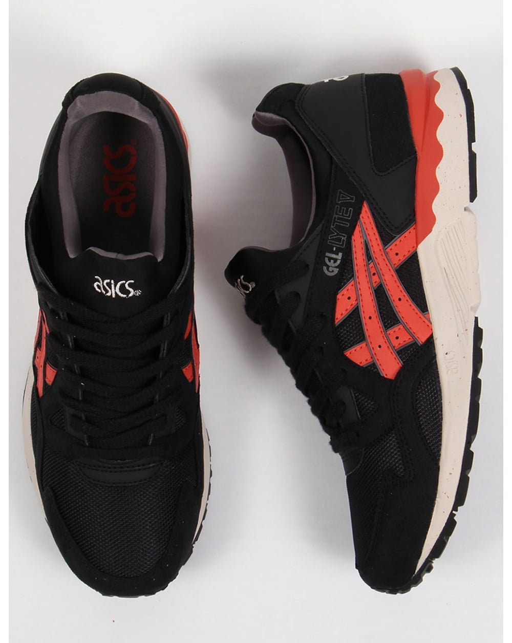 new product 13554 03d21 asics gel lyte red and black