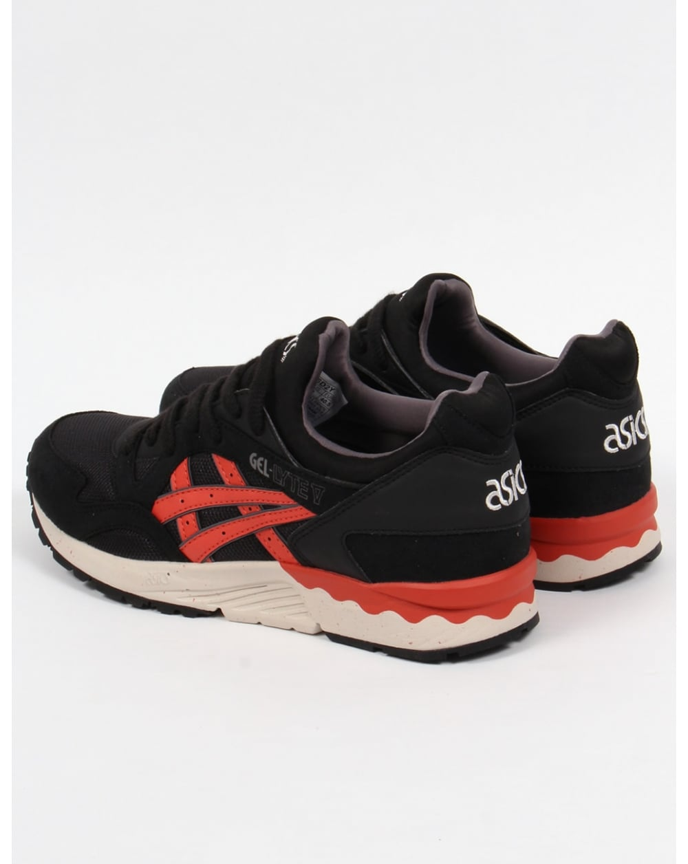 asics gel lyte v trainers black chili red 5 shoes runners. Black Bedroom Furniture Sets. Home Design Ideas