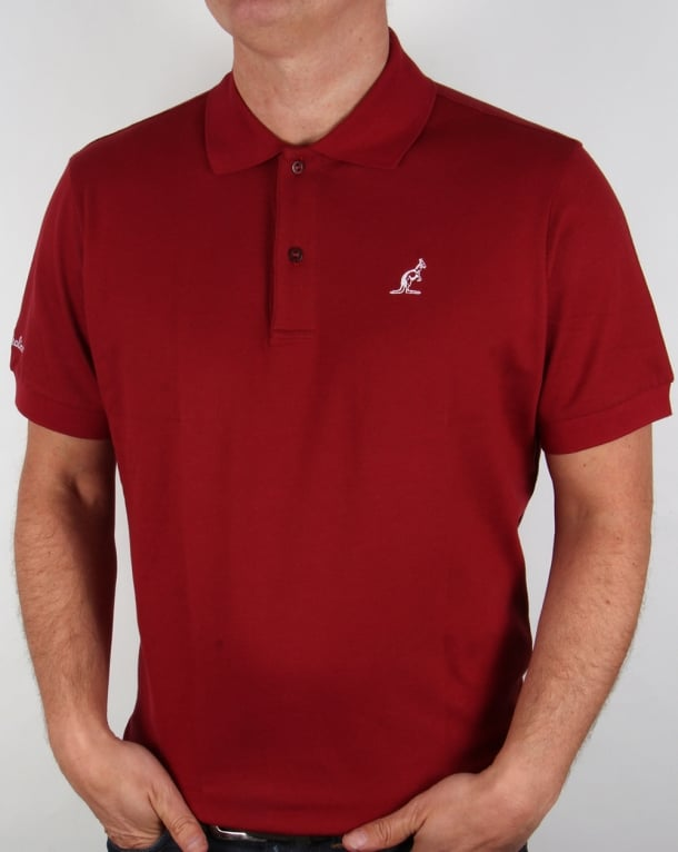 Australian By Lalpina Contrast Logo Polo Shirt Deep Red