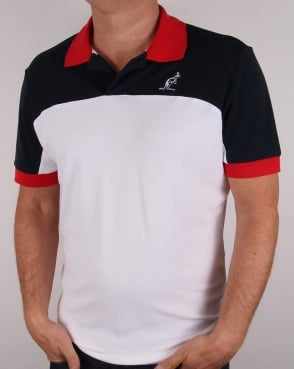 Australian By Lalpina Contrast Shoulder Polo Shirt White/Navy/Red