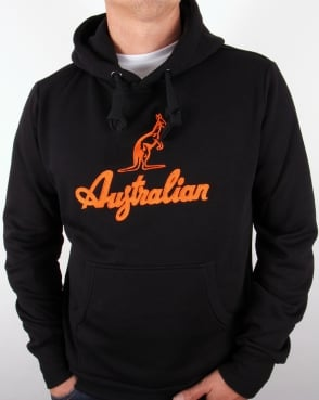 Australian By Lalpina Embroidered Logo Hoodie Black/Orange