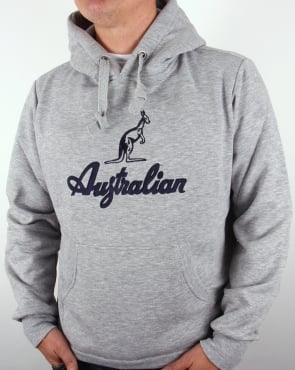 Australian By Lalpina Embroidered Logo Hoodie Grey Marl