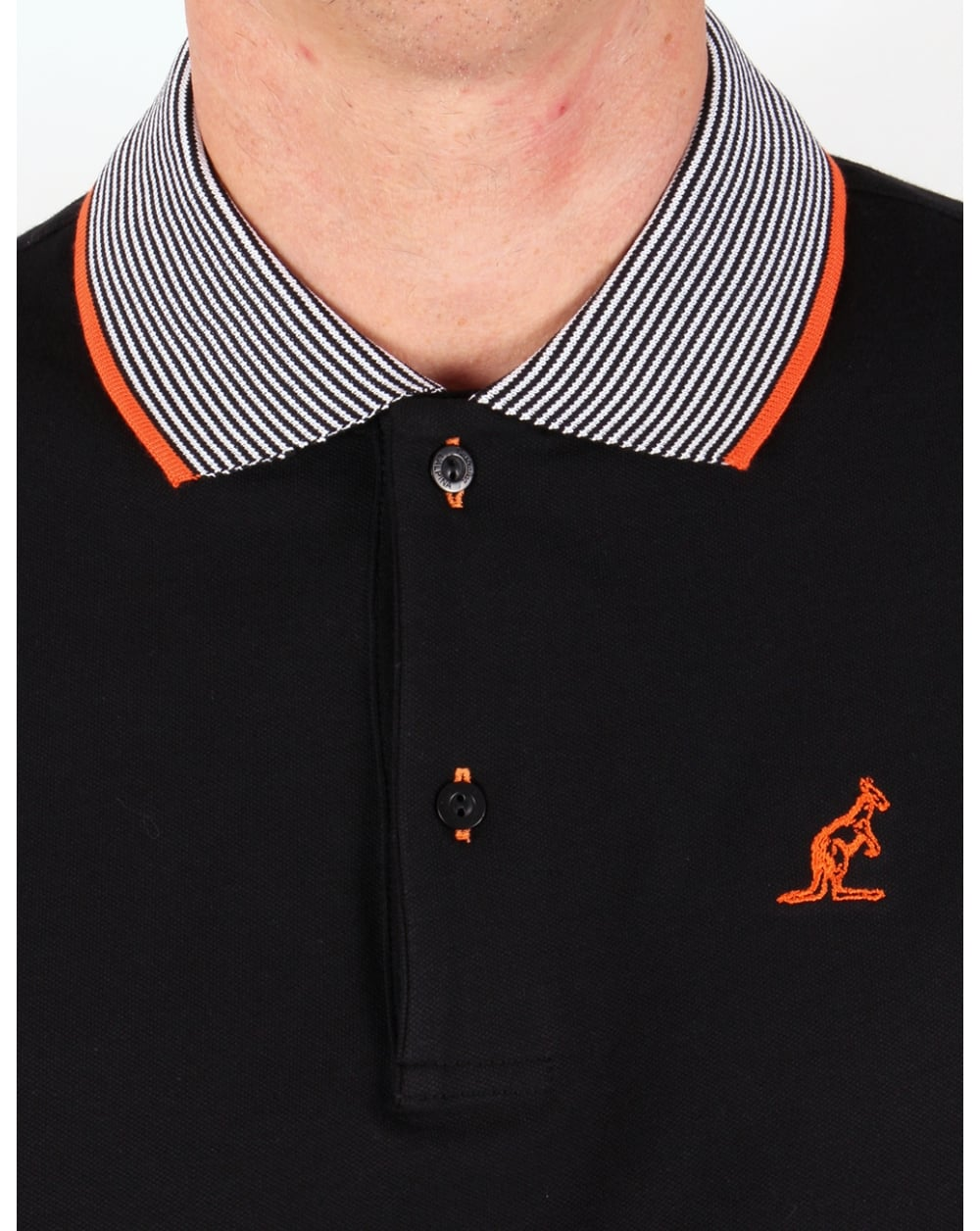 Australian By Lalpina Striped Collar Polo Shirt Black Mens Pique
