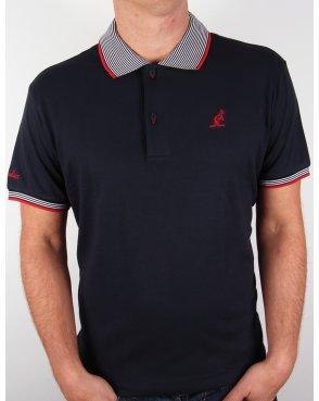 Australian By Lalpina Striped Collar Polo Shirt Navy