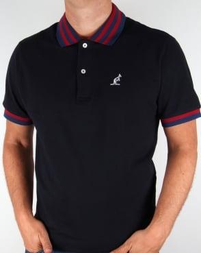 Australian By Lalpina Australian Striped Collar Polo Shirt Navy/Burgundy