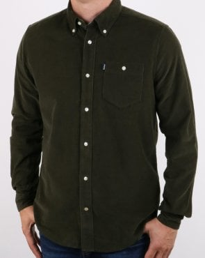 Barbour Ashwood Cord Shirt Forest Green