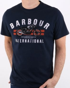 Barbour Bike Stripes Tee Navy