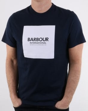 Barbour Block Square Tee Navy - white