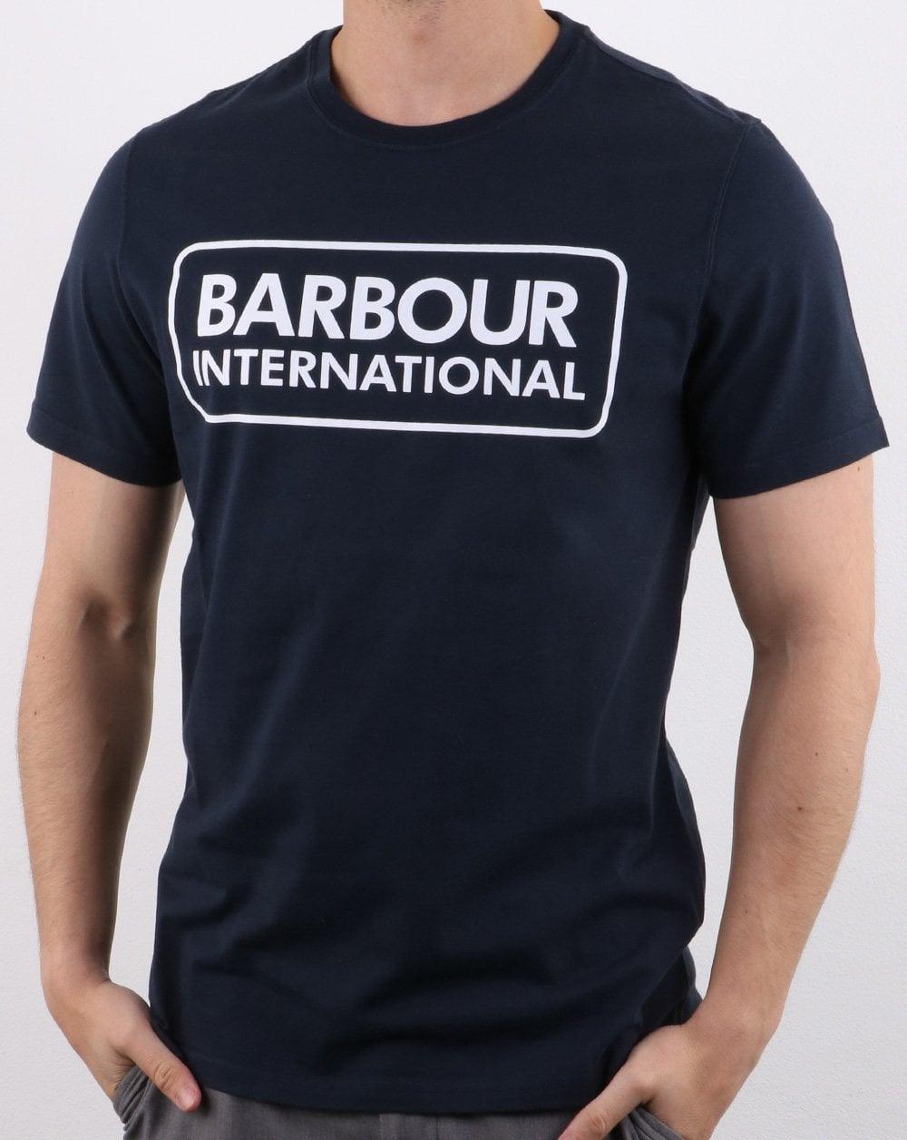 famous brand authentic 50% off Barbour International Essential Logo T-shirt Navy/white