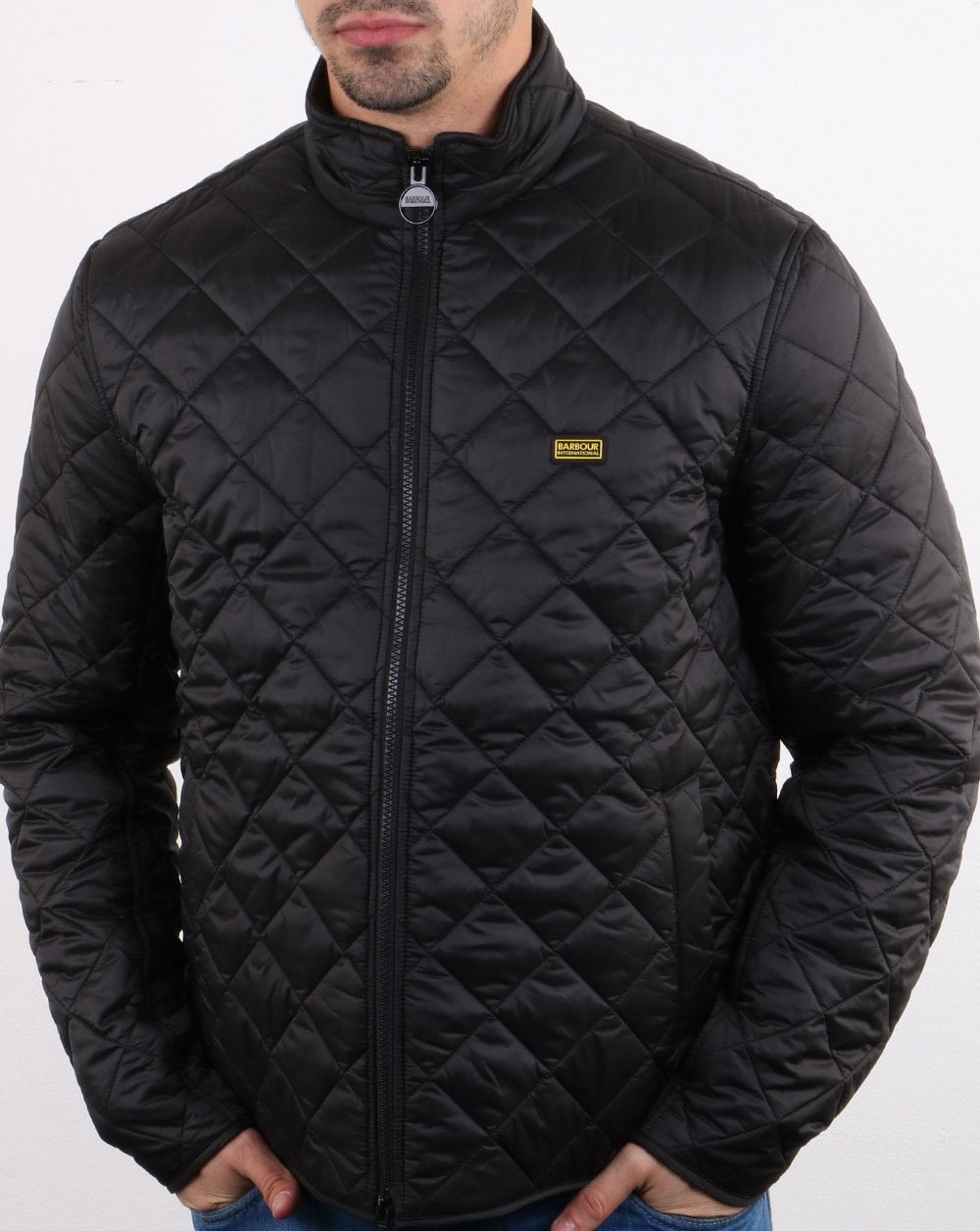 barbour international gear quilted jacket navy