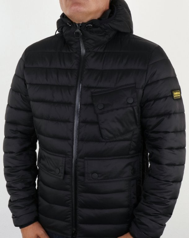 Barbour Ouston Hooded Padded Jacket Black Quilted Coat