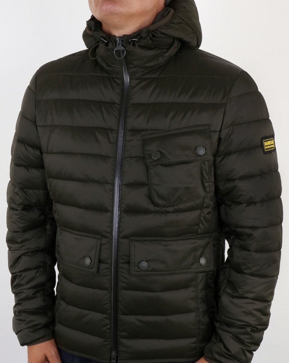 Barbour Ouston Hooded Padded Jacket Olive Quilted Coat