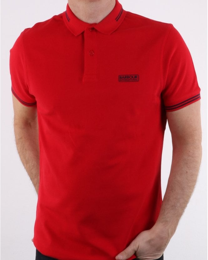 Barbour Tipped Polo Red - Navy