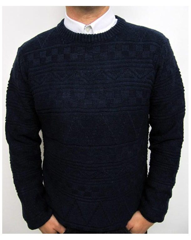 Bellfield Aztec Pattern Crew Neck Jumper Navy