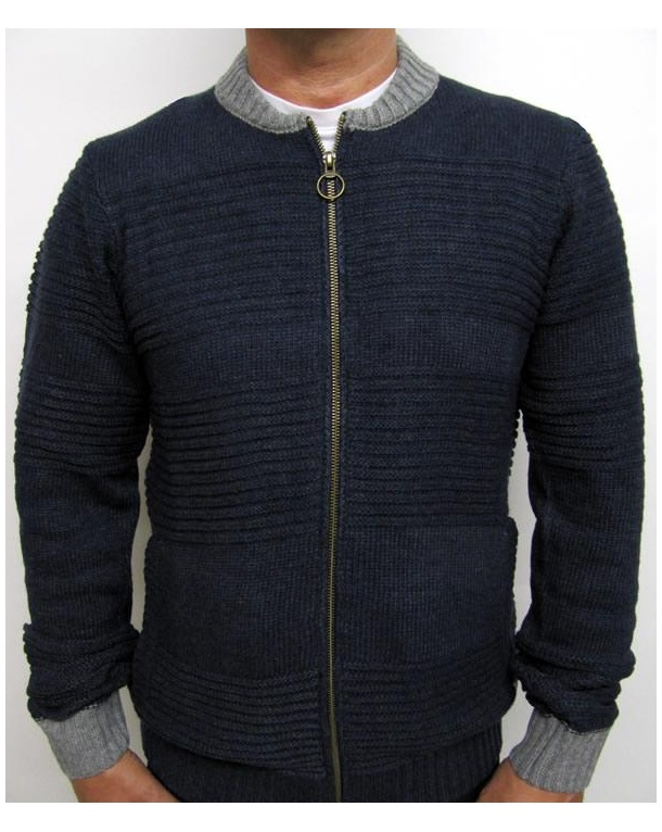 Bellfield Baffin Zip Up Knit Navy