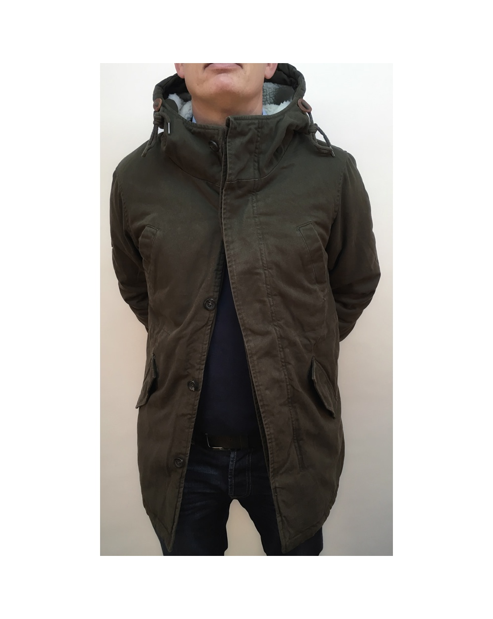 bellfield bres jacket khaki green hooded coat khaki. Black Bedroom Furniture Sets. Home Design Ideas