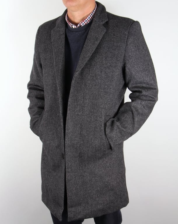 Bellfield Jak Wool Overcoat Grey