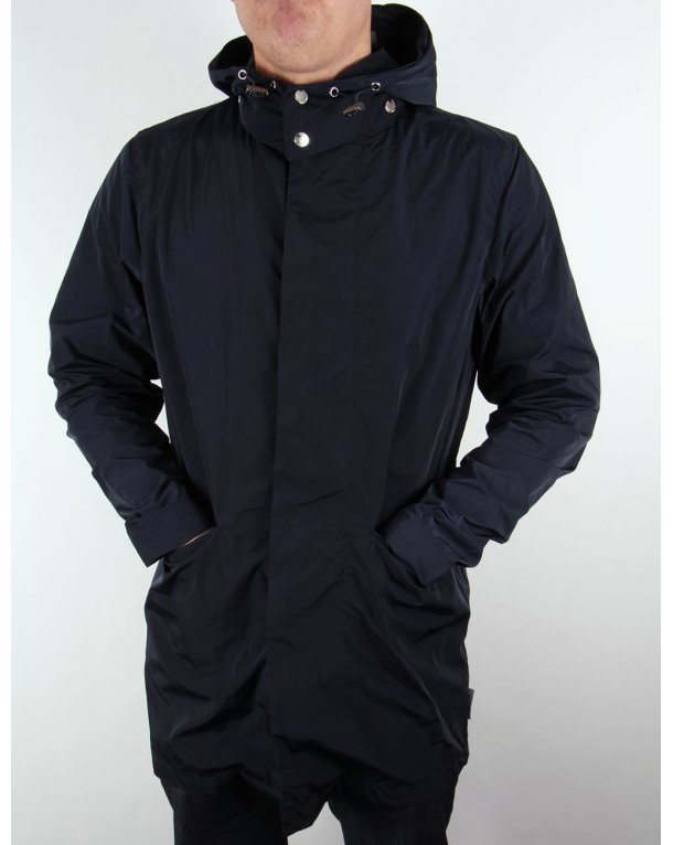 Bellfield Mac With Detatchable Hood Navy Blue