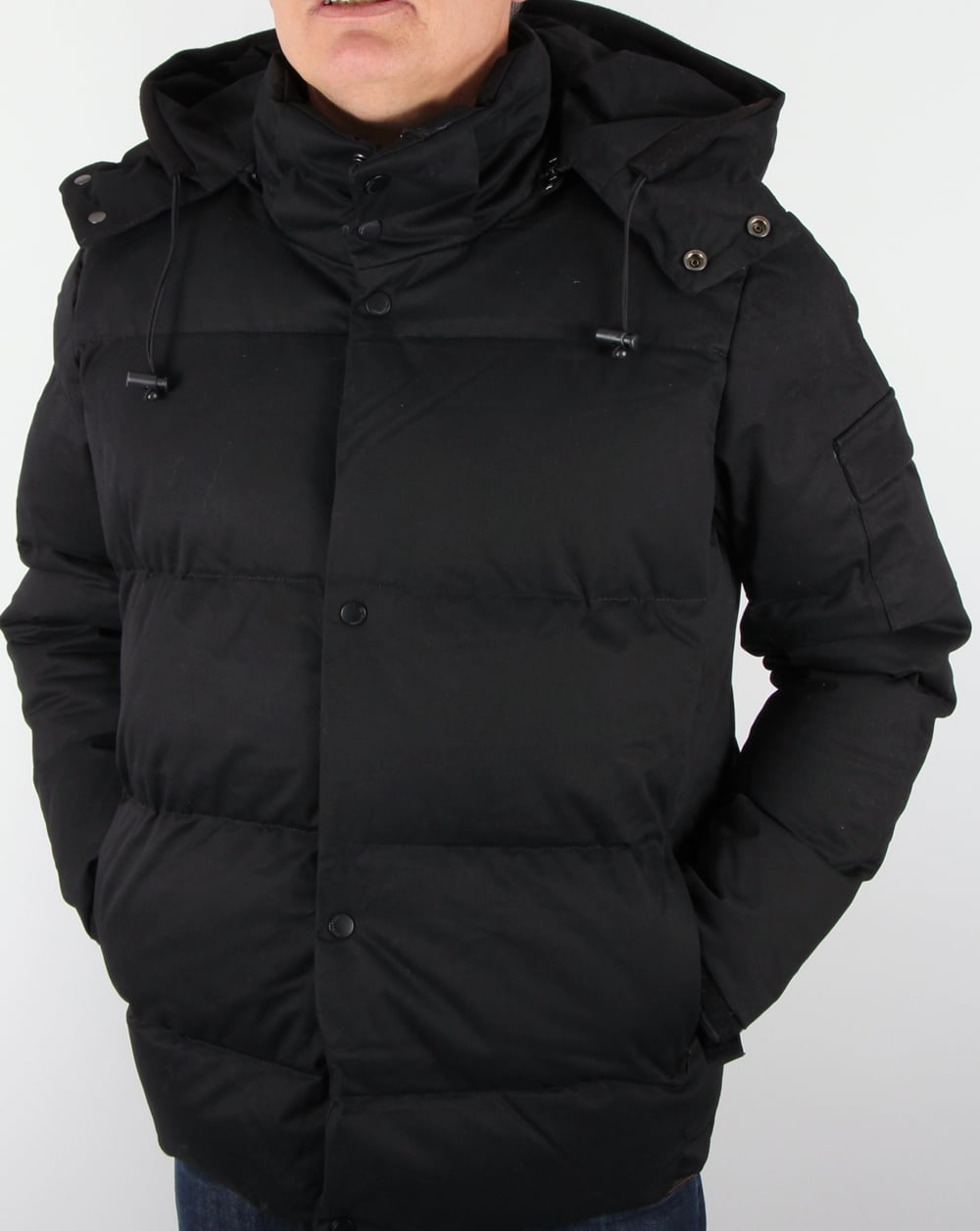 Bellfield Orsted Quilted Jacket Black Padded Coat Parka Mens