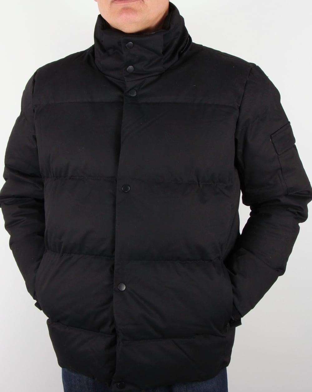 Bellfield Orsted Quilted Jacket Black Padded Coat Parka Mens