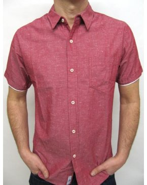Bellfield Short Sleeve Chambray Shirt Red